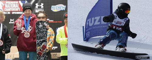 Ed Shred on the national snowboard championship podium