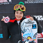 Isabella Gomez on the national snowboard championship podium