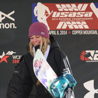 Katie Wilson on the national snowboard championship podium